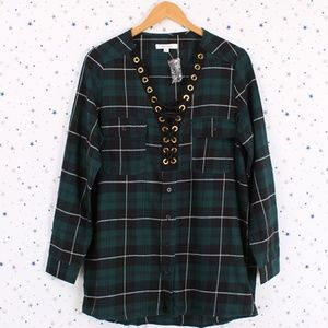 Tops - Lace Up Front Detail Plaid Shirt Long Sleeve